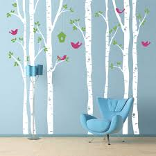 Mural Stickers For Walls Birch Trees Wall Decal With Birds Extra Large Wall Mural