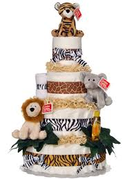 diper cake jungle 4 tier cake by lil baby cakes