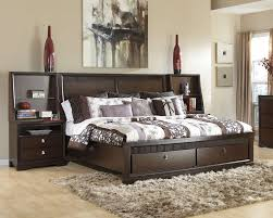 Unfinished Wood Headboards by Bedroom Chocolate Modern Stained Solid Wood Storage Platform Bed