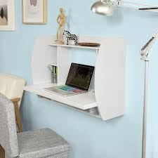 Wall Office Desk by Sobuy Fwt18 W White Wall Mounted Table Desk With Storage Shelves