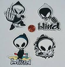 Blind Skate Logo Stone Blind Brand Logo Stickers Decals Skateboard Skeleton
