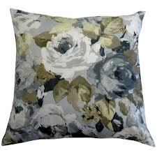 B Q Living Room Design Palmarosa Watercolour Floral Green U0026 Grey Cushion More Gray