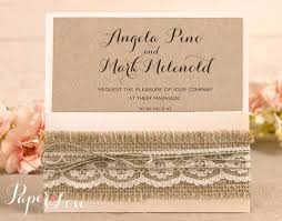 rustic pocket wedding invitations wedding invitation kraft rustic lace square pocket u2013 paper love cards
