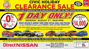 nissan canada august incentives civic holiday clearance sale direct nissan