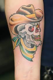cowboy skull on forearm