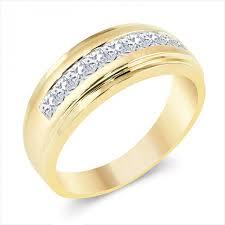 mens yellow gold wedding bands men s 14k yellow gold 1 ct t w princess cut wedding band
