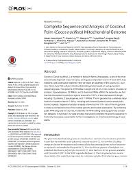 complete sequence and analysis of coconut palm cocos nucifera