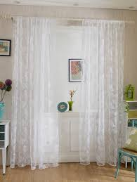 2 panels rose embroidery window sheer tulle fabric curtain white