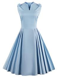 vintage bowknot v neck pin up dress in windsor blue s sammydress com