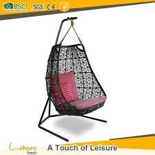 sweden cloris garden black pe wicker rattan hanging swing chair