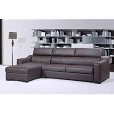 Sleeper Sofa With Chaise Amazon Com J U0026m Furniture Ritz Brown Italian Leather Sleeper Sofa