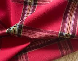 Red Plaid Upholstery Fabric Plaid Upholstery Etsy