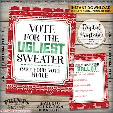 ugly christmas sweater voting sign and ballots ugly sweater party