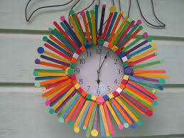 simple wall clock colored popsicle sticks foam circles and
