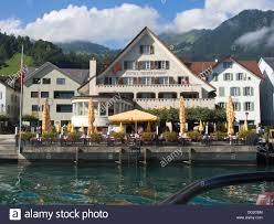 boat trip on lake lucerne switzerland view of hotel restaurant