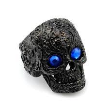 flower tattoo ring 2018 retro black flower tattoo blue eyes stainless steel skull head