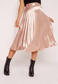 pleated skirt pleated midi skirt gold missguided