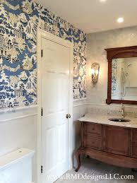 decor u0026 tips fantastic powder room with thibaut wallpaper and