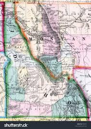 Map Of Montana And Idaho by Antique 1870 Mitchell Idaho Montana Map Stock Photo 609371