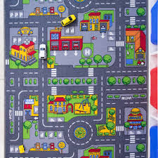 Round Colourful Rugs by Children U0027s Play Village Rug Town Roads Mat Kukoon