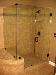 small bathroom shower stall ideas brown tiles shower areas wall with black steel rain head shower