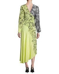 diane von furstenberg colorblock floral print silk kimono dress