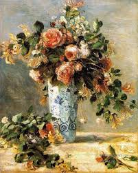 4 roses and jasmine in a delft vase flower pierre auguste renoir