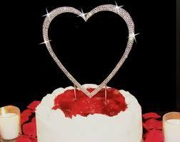 heart cake topper heart cake topper rhinestone heart cake topper