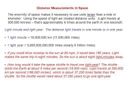 Distance measurements in space light minute and light year the