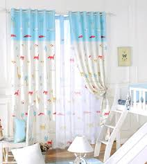 Blue And Yellow Curtains Prints And White Animal Print Polyester Color Block Kids Curtains