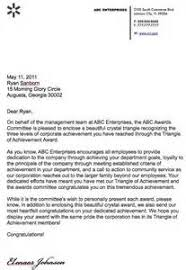 sample award letter letter of recommendation
