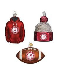 university of alabama crimson tide 3 pc football ornament set