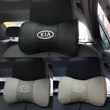 2 x genuine leather headrest neck pillow car auto seat cover head