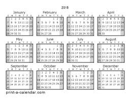 printable calendar year on one page download 2018 printable calendars