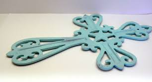 horseshoe cast iron cross cottage chic beach blue country star