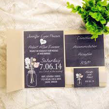 affordable pocket wedding invitations cheap black lace gold pocket chalkboard bohemian wedding