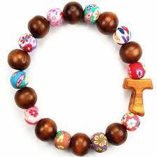 colored bead bracelet images Franciscan tau cross brown wood colorful bead bracelet christian jpg