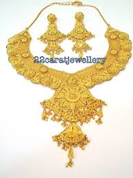 wedding gold sets 22 carat gold bridal heavy necklace sets from manubhai jewellers