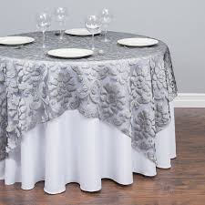 72 in baroque sheer tablecloth silver for weddings events