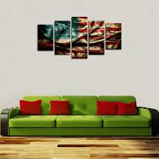 home decor canvas canvas prints 5 panels retro american flag canvas picture wall art