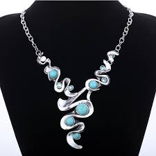 tibetan silver turquoise necklace images Twisted design tibetan silver turquoise necklace only 8 54 jpg
