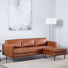 olive green leather sofa modern sectional sofas west elm