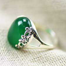 silver rings women images Fnj 100 pure 925 sterling silver rings for women jewelry green jpg