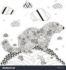 hand drawn groundhog black white anti stock vector 561049093