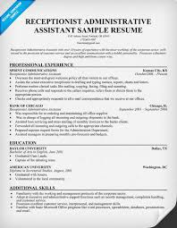 Resume Sample For Executive Assistant by Sample Resume Receptionist Administrative Assistant Sample