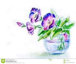 spring flowers in vase watercolor royalty free stock photos