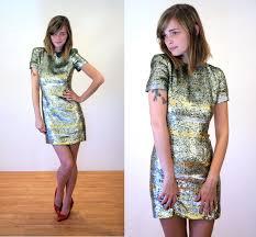 couture neil bieff dress xs sequin dress silver gold u0026 green