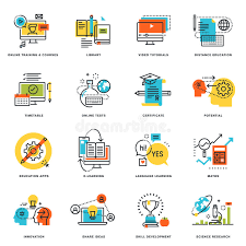 design online education set of flat line design icons of online education and e learning