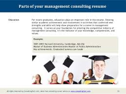Recent Graduate Resume Example by Management Consulting Resume Sample