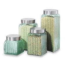 oggi kitchen canisters oggi ribbed glass 4 canister set in green bed bath beyond